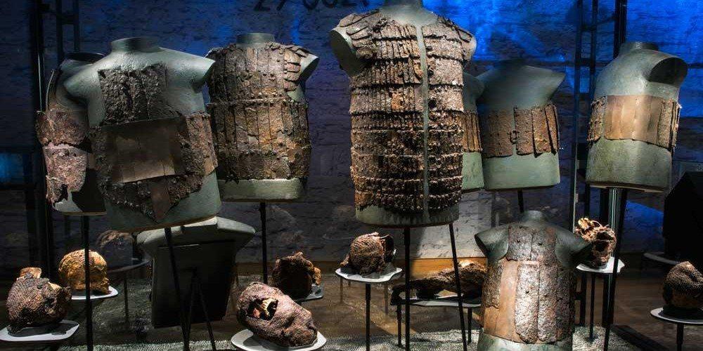 "14th century graves we exhibit at the exhibition ""Medieval Massacre"""